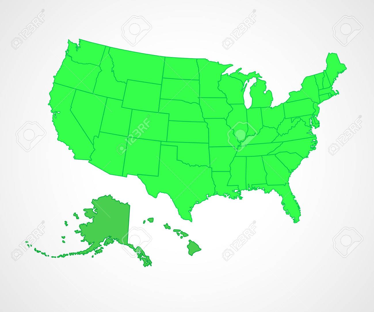 Set Of Green USA States Vector Illustration Simple Flat Vector
