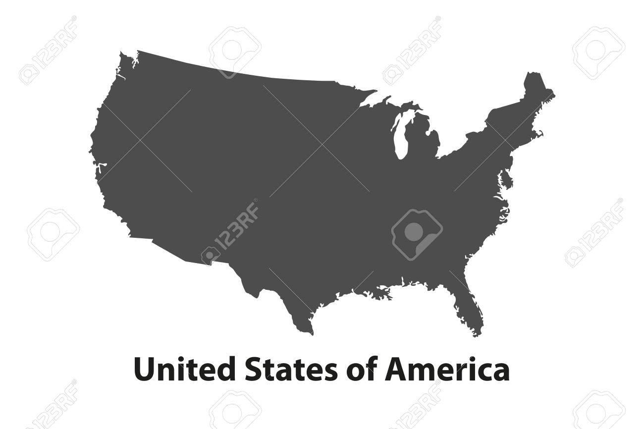 Black USA map - vector illustration. Simple flat map - United States. - 56411045