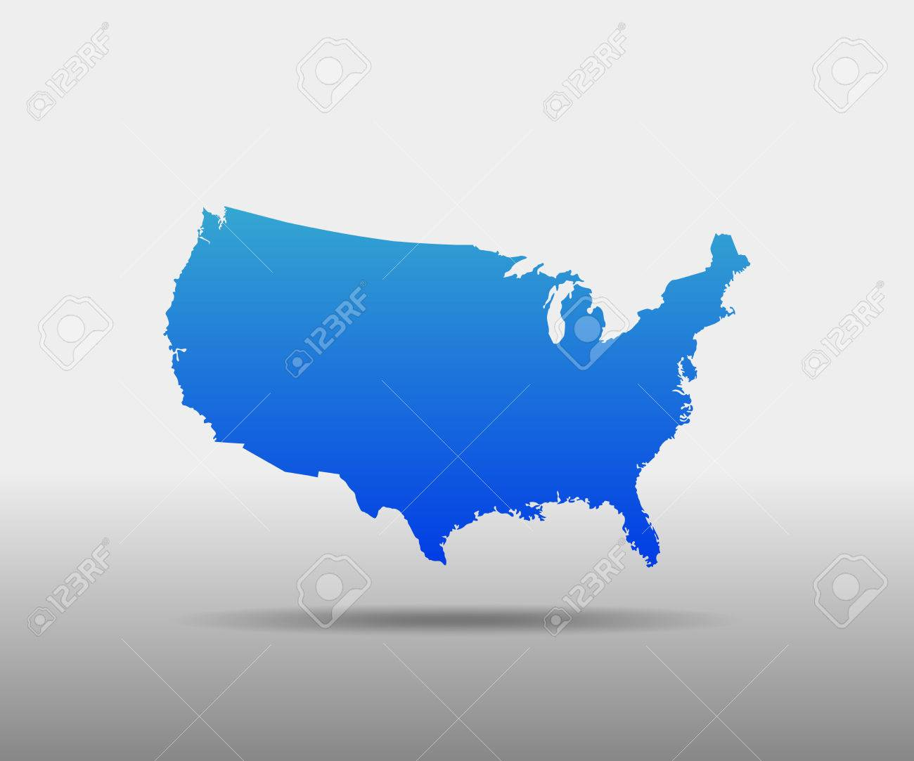 Blue Usa Map Vector Illustration Simple Flat Map United