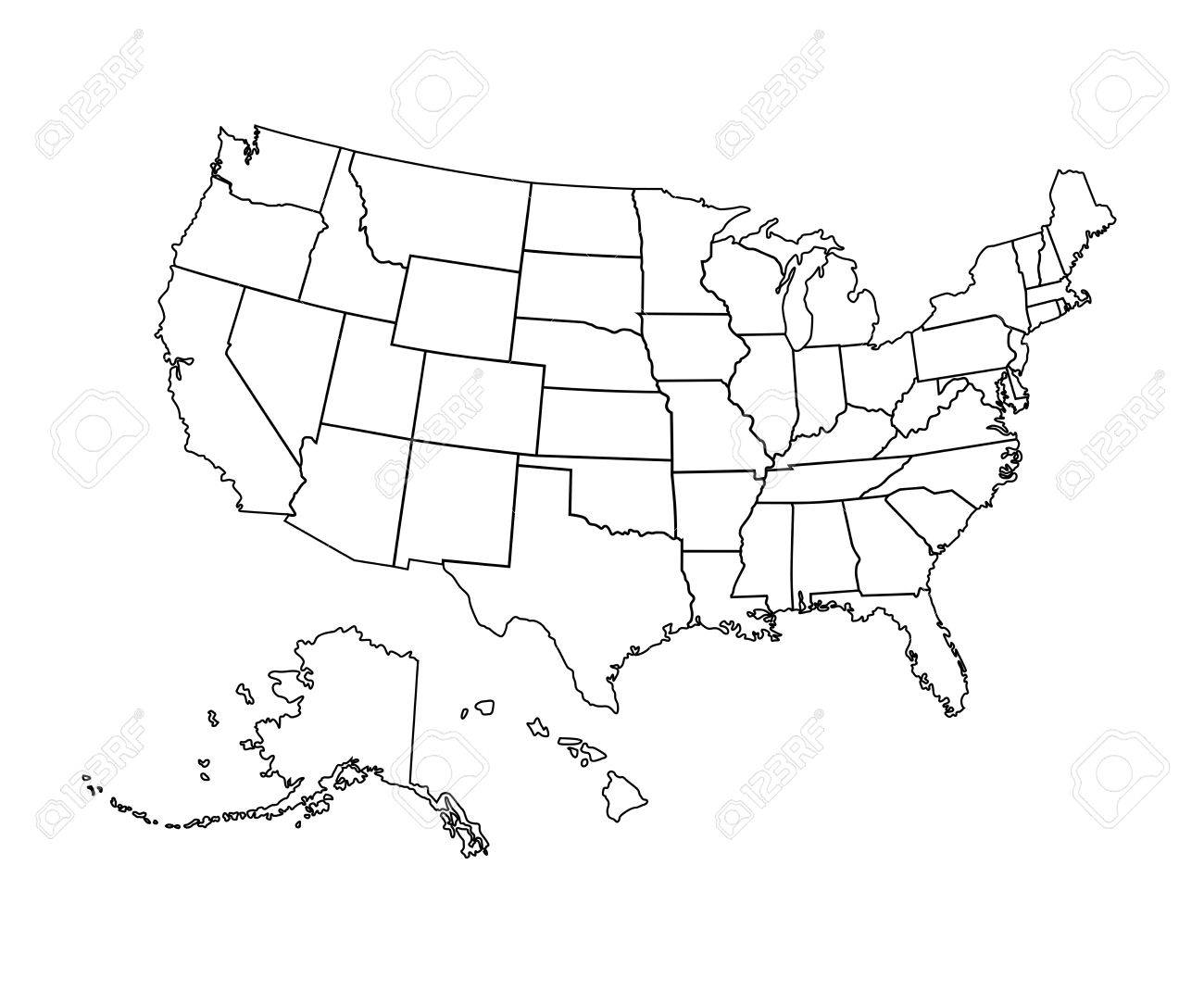 Black USA Map Vector Illustration Black Contour Of United - Us map alaska and hawaii