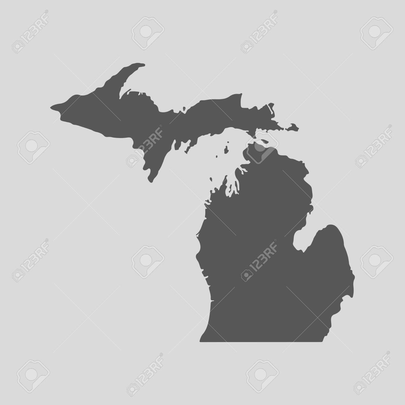 Black Map Of The State Of Michigan - Vector Illustration. Simple ...