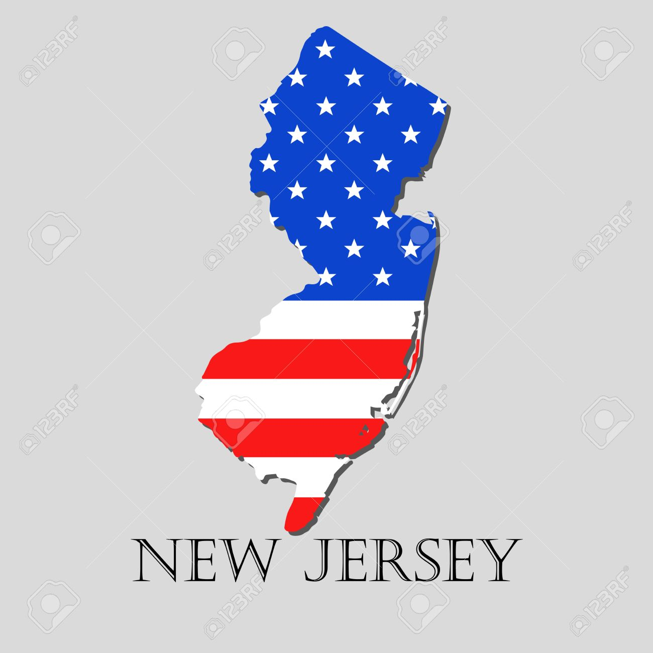Map Of The State Of New Jersey And American Flag Illustration - Map of the state of new jersey