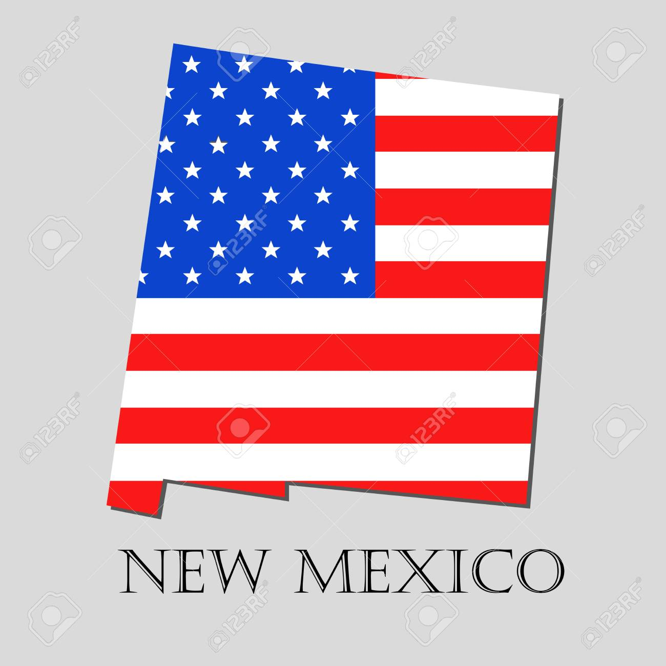 Map Of The State Of New Mexico And American Flag Illustration ...