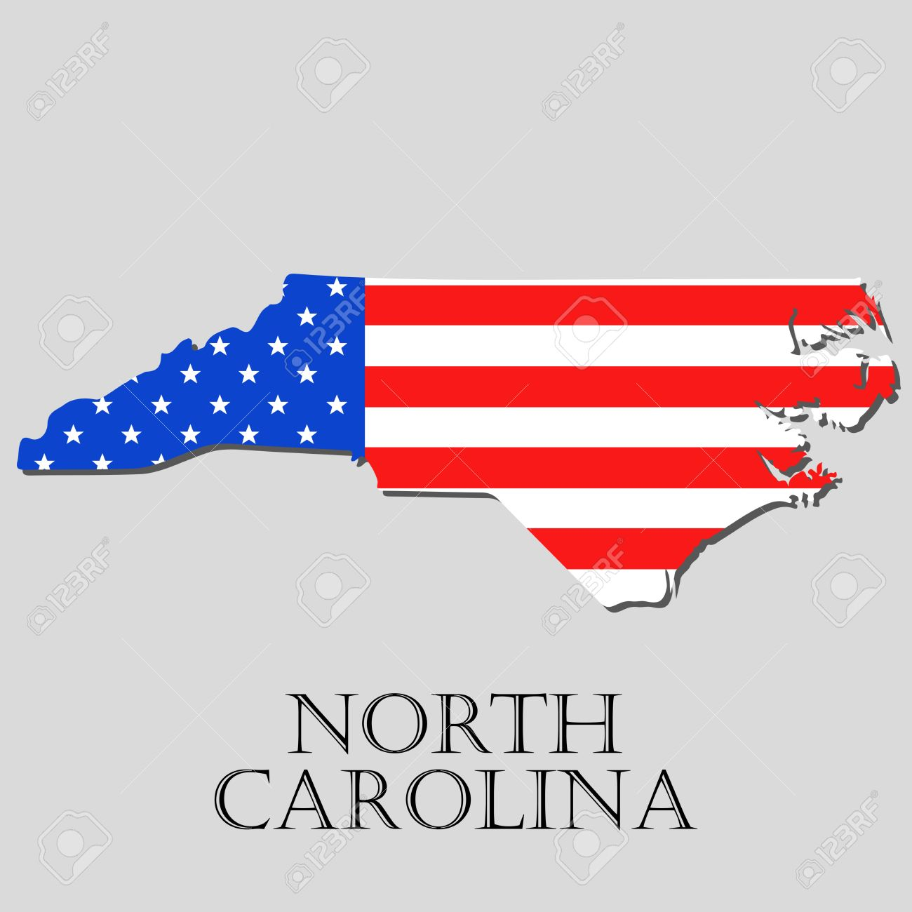 Map Of The State Of North Carolina And American Flag Illustration - North carolina on the us map