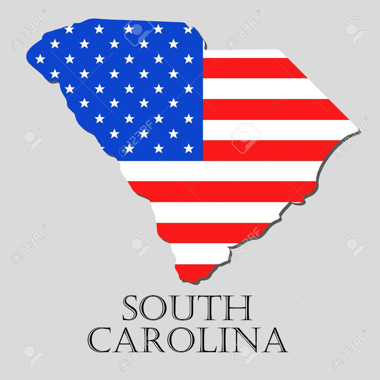 Map Of The State Of South Carolina And American Flag Illustration - South america map and flags