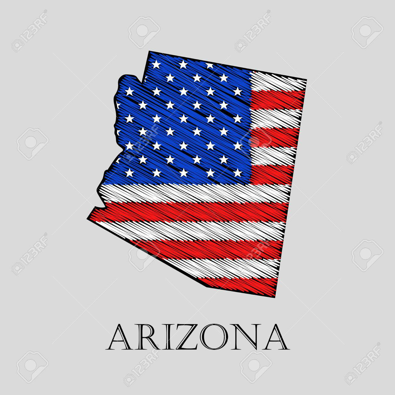 State Arizona In Scribble Style Vector Illustration Abstract - Us-flat-map