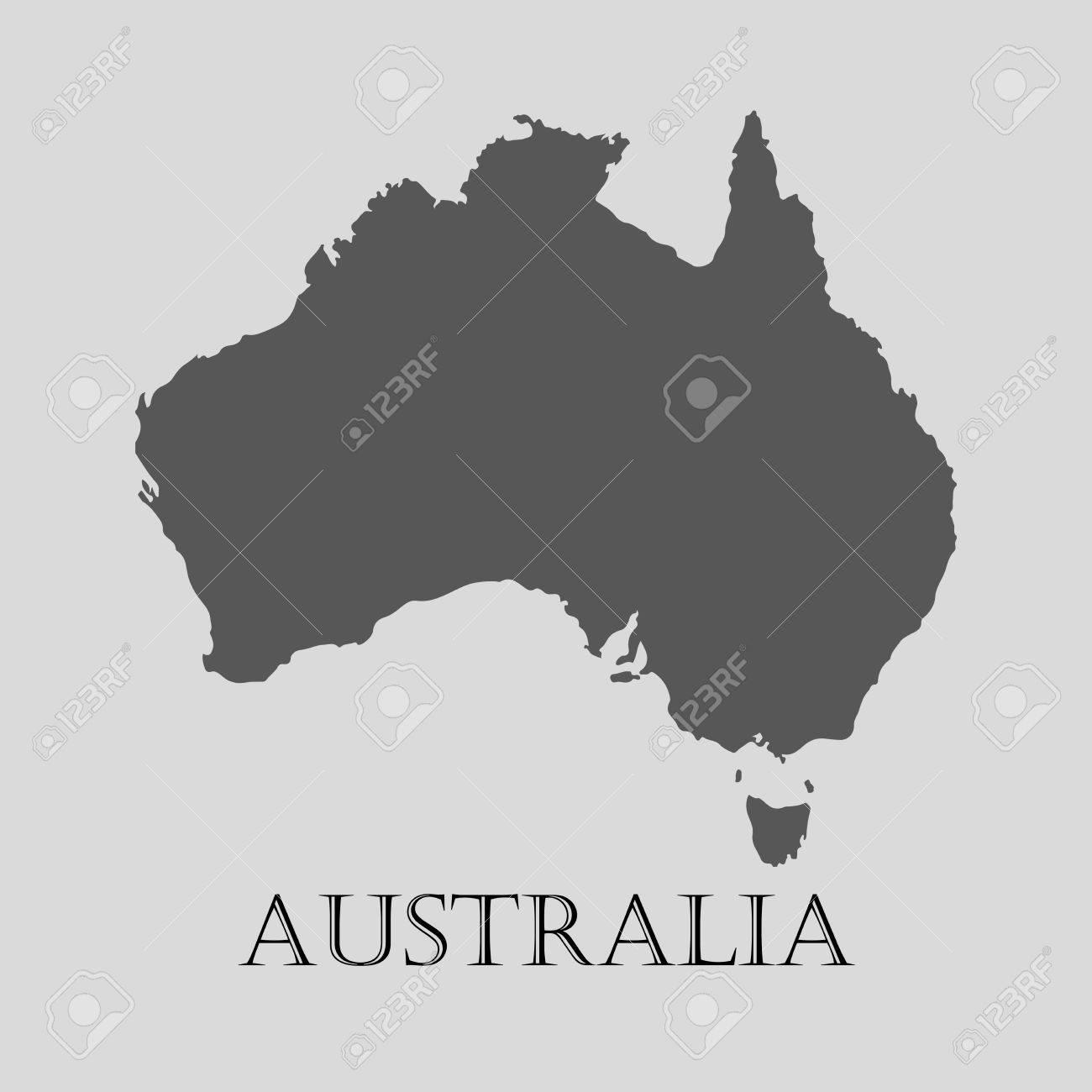 Australia Map Grey.Black Australia Map On Light Grey Background Black Australia