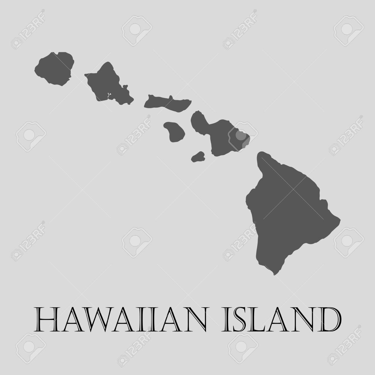 Black Hawaiian Island Map On Light Grey Background. Black Hawaiian ...