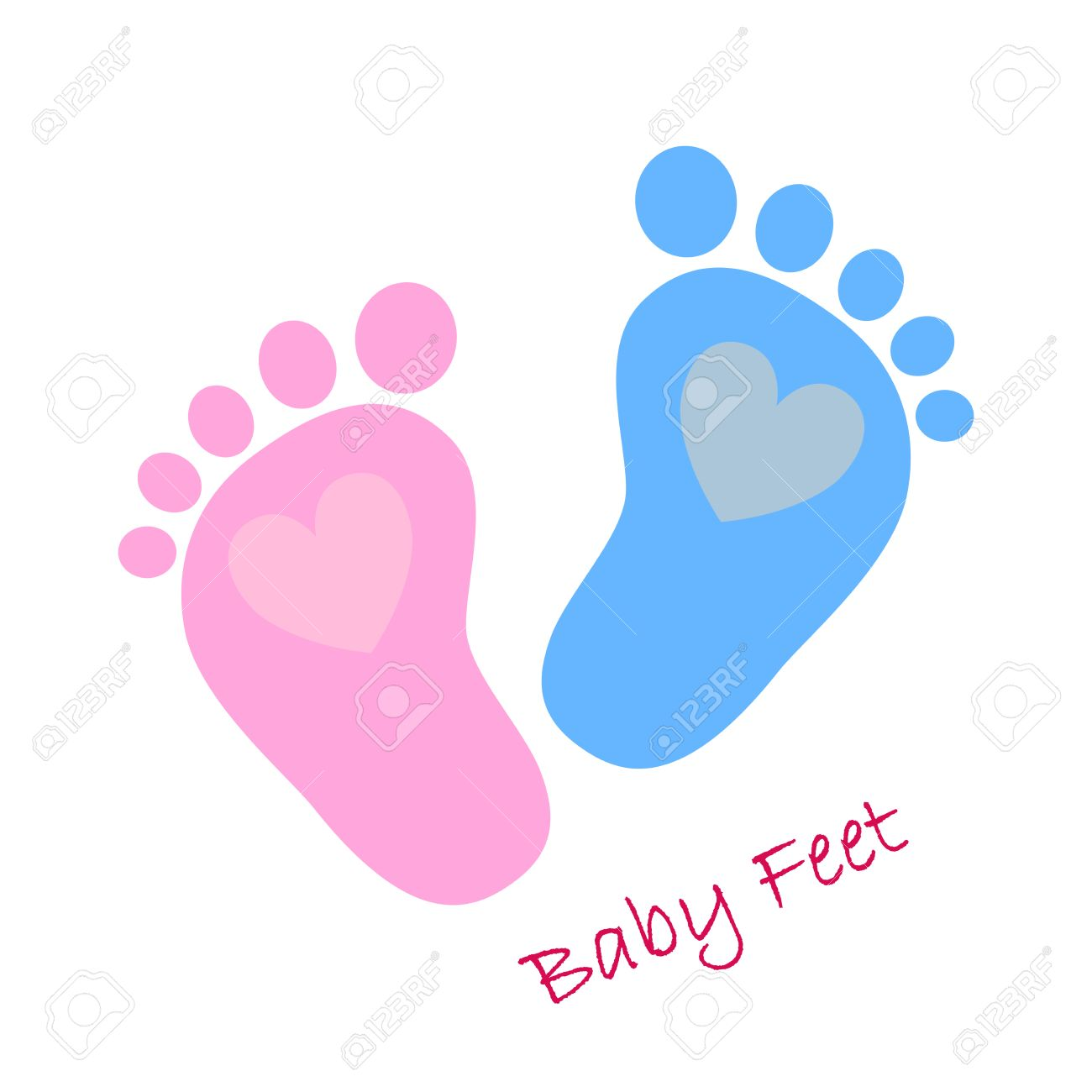 simple baby footprints vector illustration red and blue baby