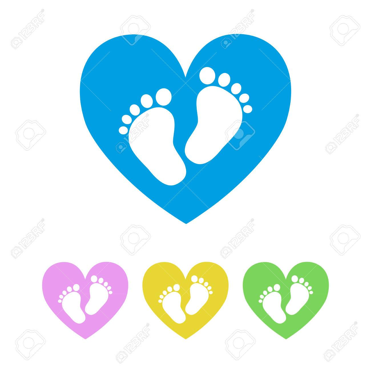 set of the baby footprints vector illustration white footprints