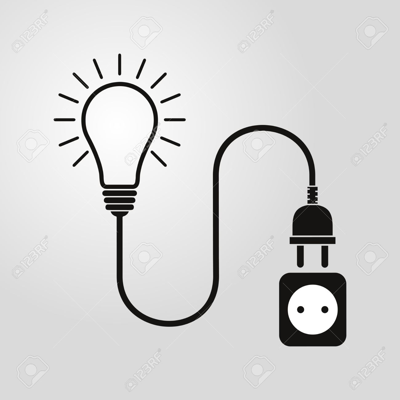 Light Bulb Wire Plug And Socket Vector Illustration Concept Wiring A Fixture To Cord Connection