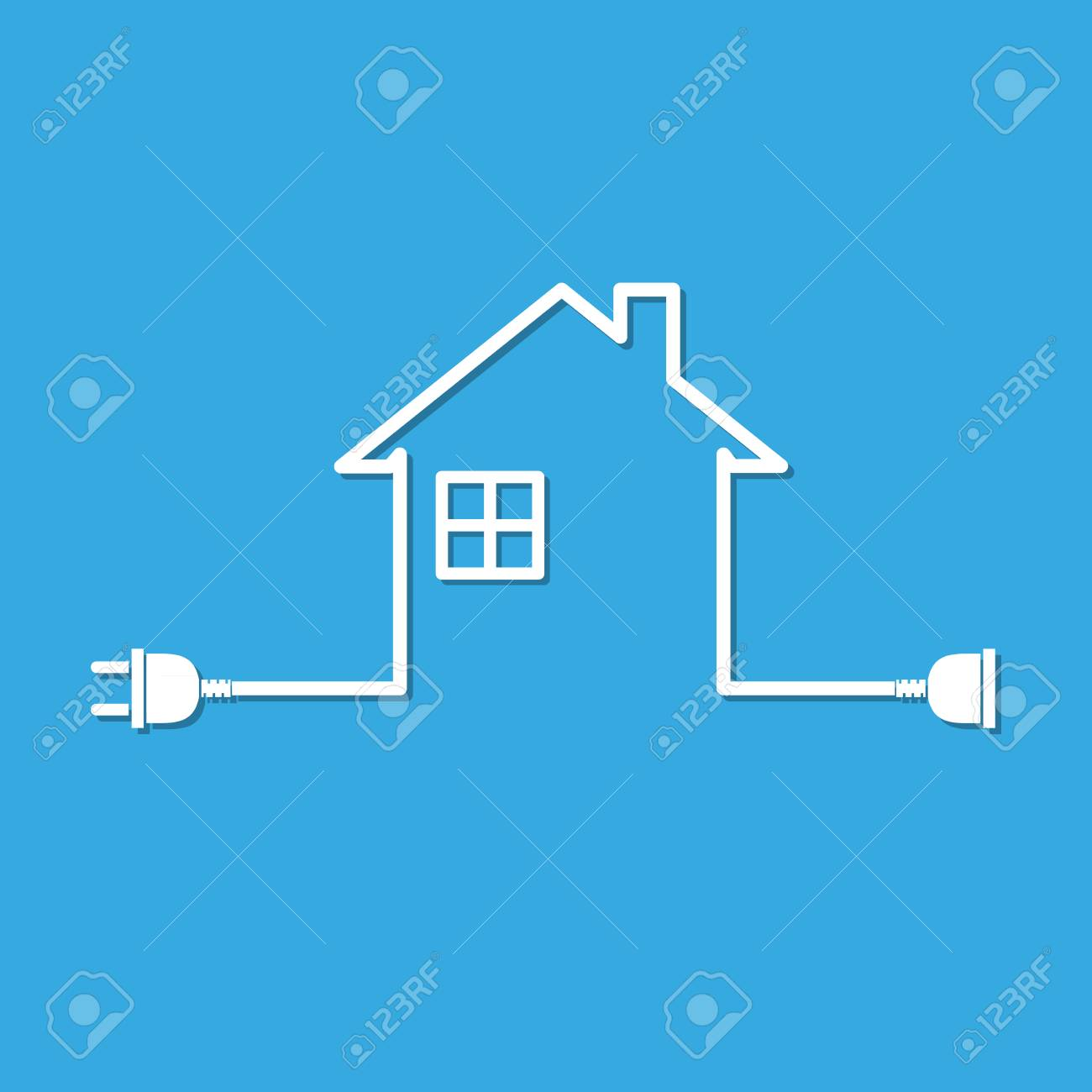 Silhouette of house with wire plug and socket vector illustration silhouette of house with wire plug and socket vector illustration simple icon with house asfbconference2016 Image collections