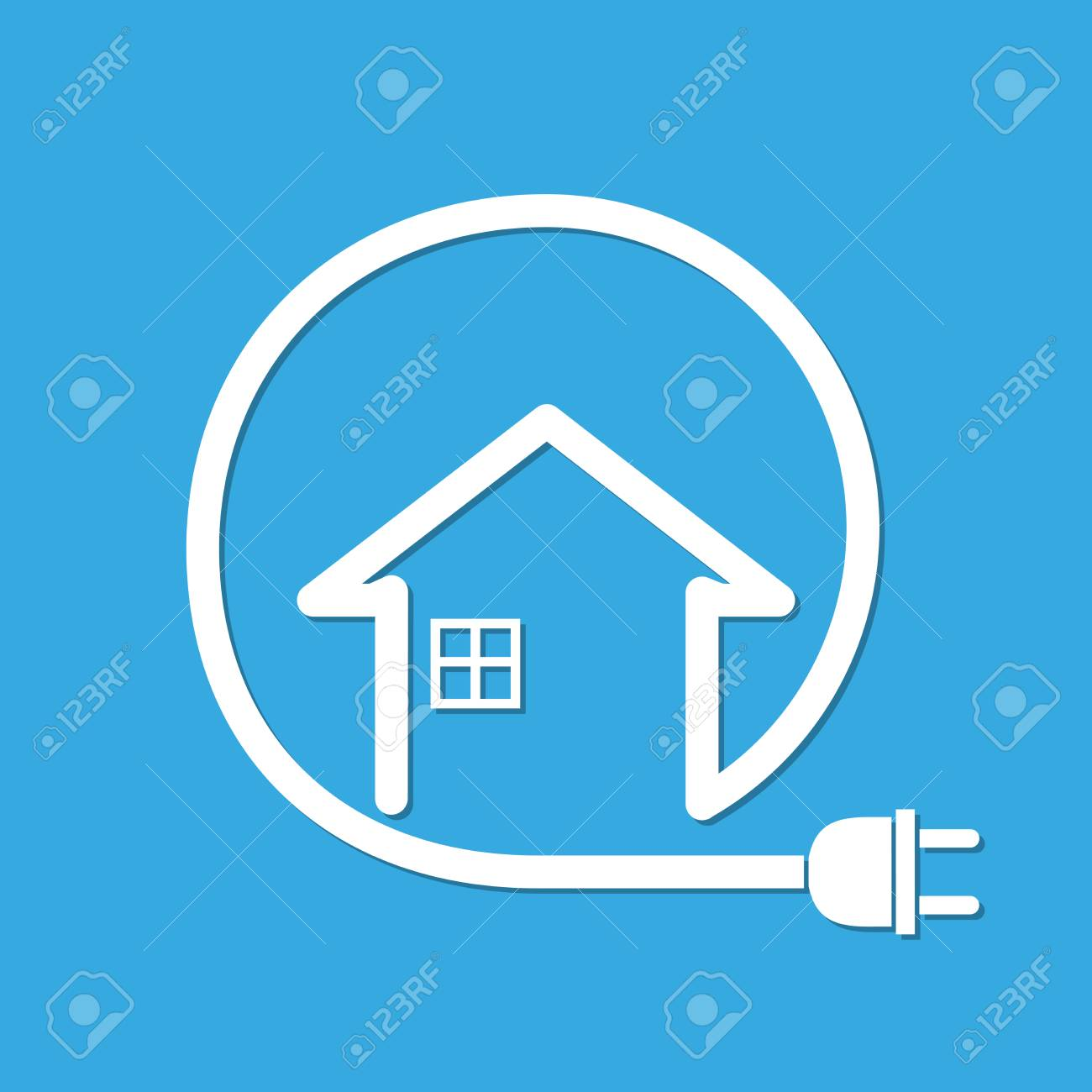 Silhouette Of House With Wire Plug - Vector Illustration. Simple ...