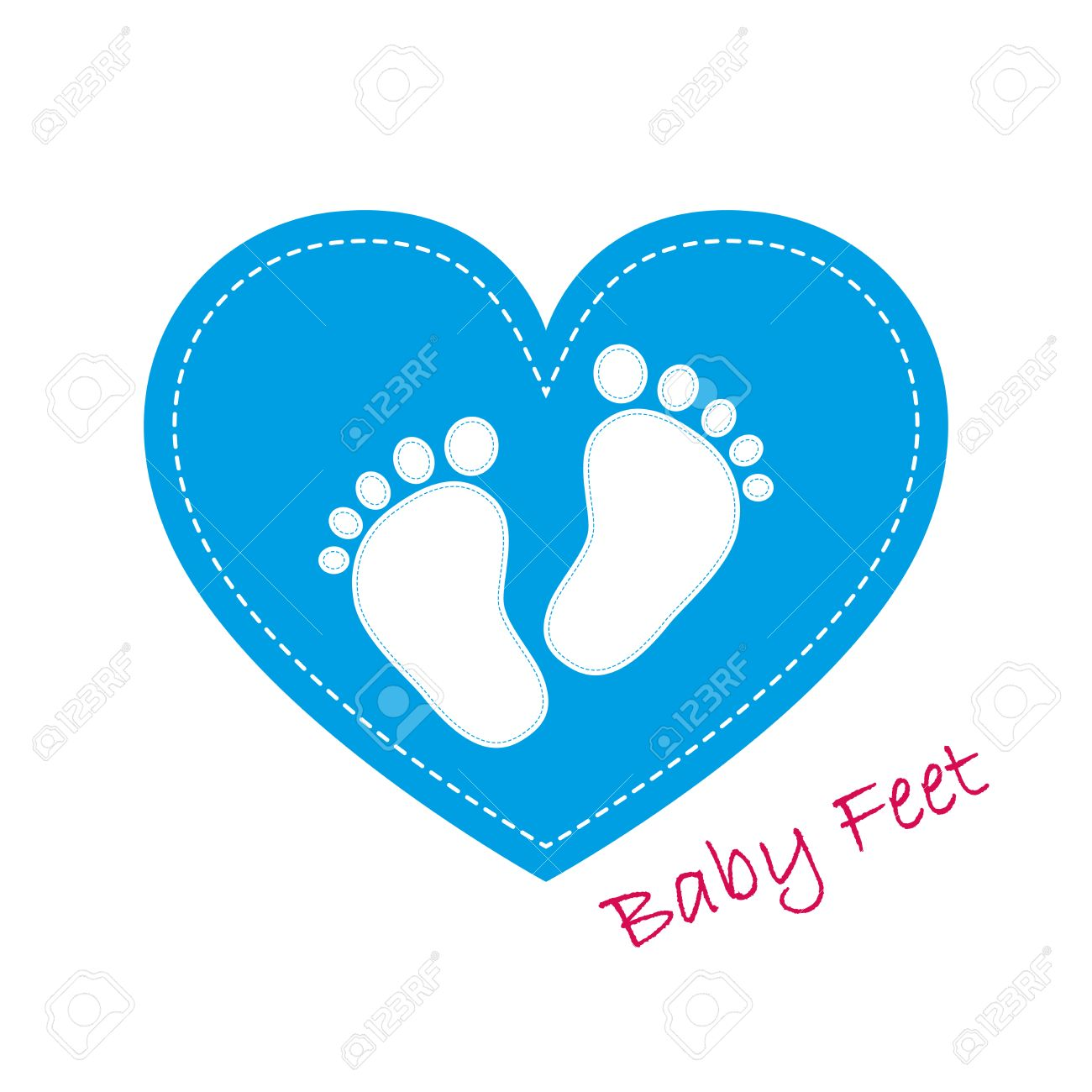 blue baby footprints in the center on blue heart baby footprints