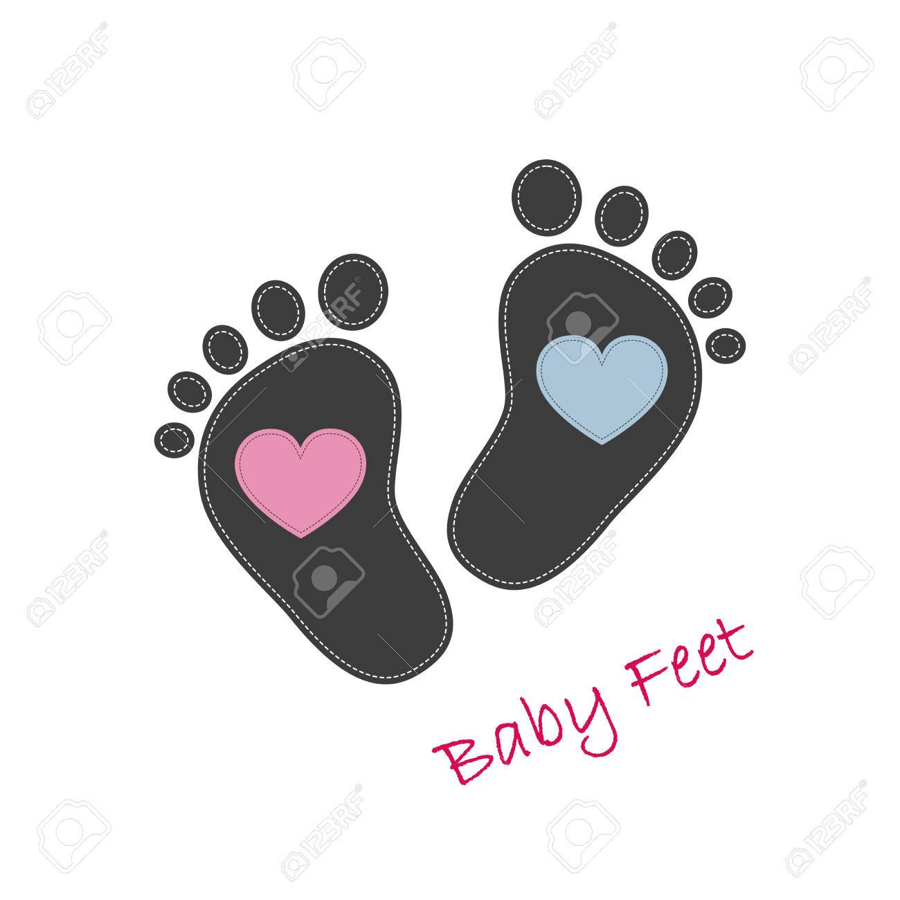 baby footprints with pink and blue hearts in the center baby rh 123rf com Hurt Foot Clip Art Cartoon Foot