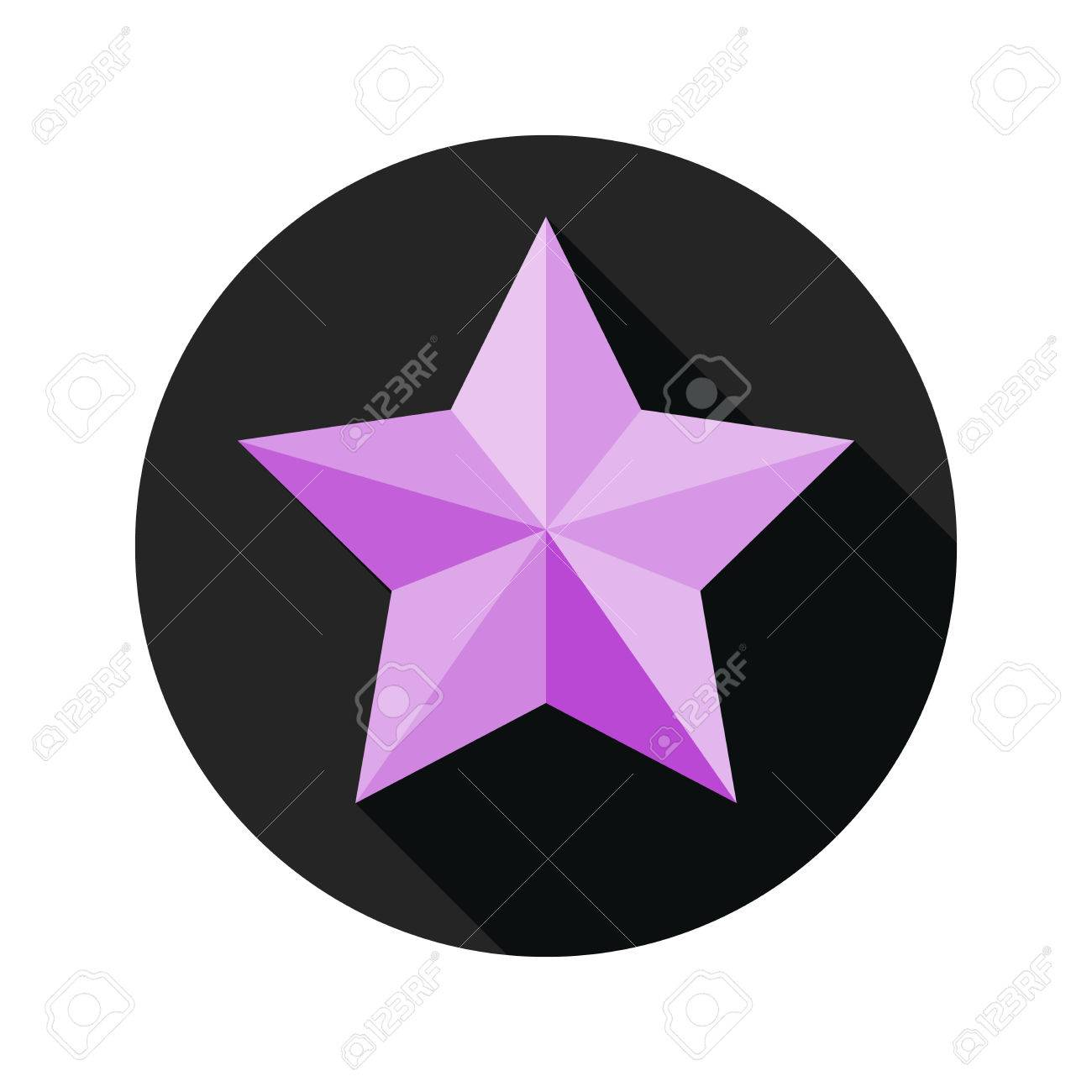 Violet Icône étoile En Design Plat étoile Avec Ombre Dans Le Cercle Noir Vector Illustration