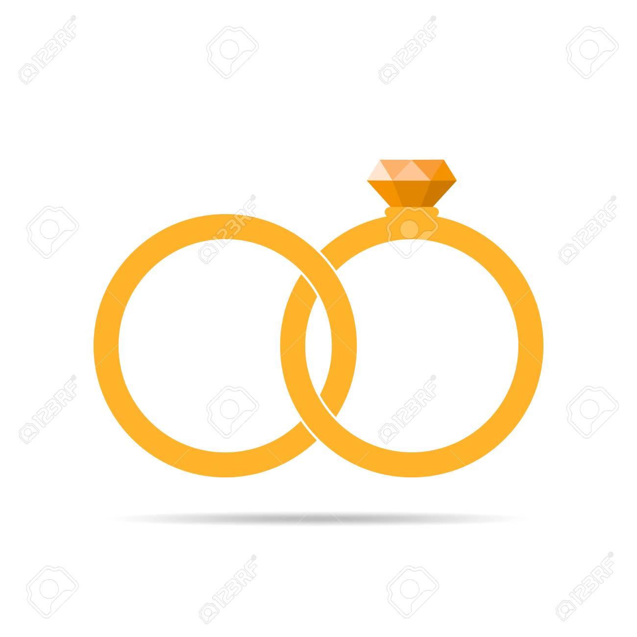 Gelbe Hochzeit Ringe Symbol In Flacher Bauform Ringe Mit Diamanten