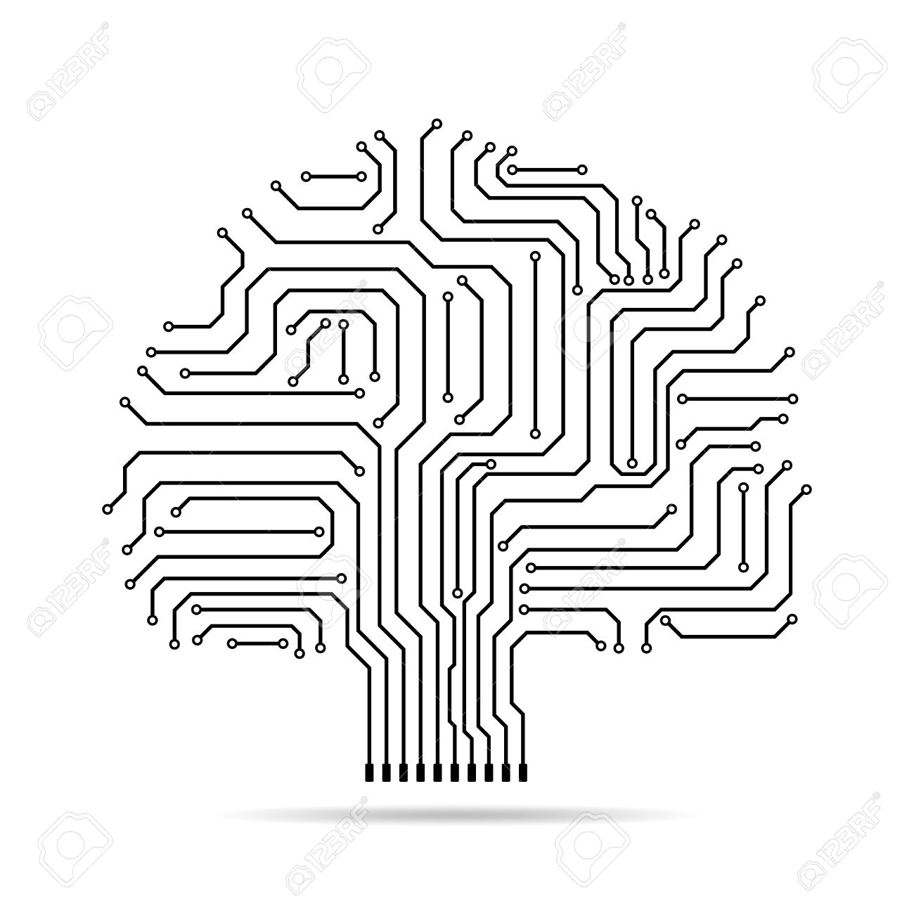 Circuit Board Tree Icon. Abstract Line Tree Silhouette Isolated ...