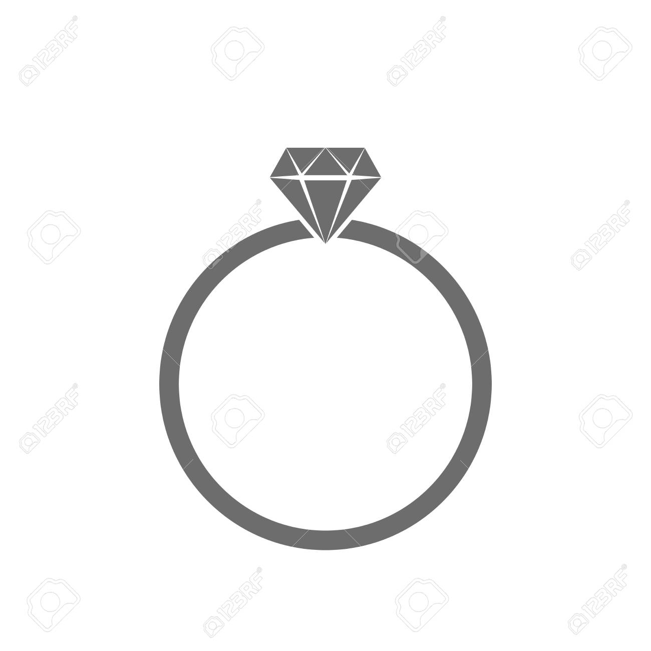 Gray Wedding Ring Icon In Flat Design Ring With Diamond Isolated