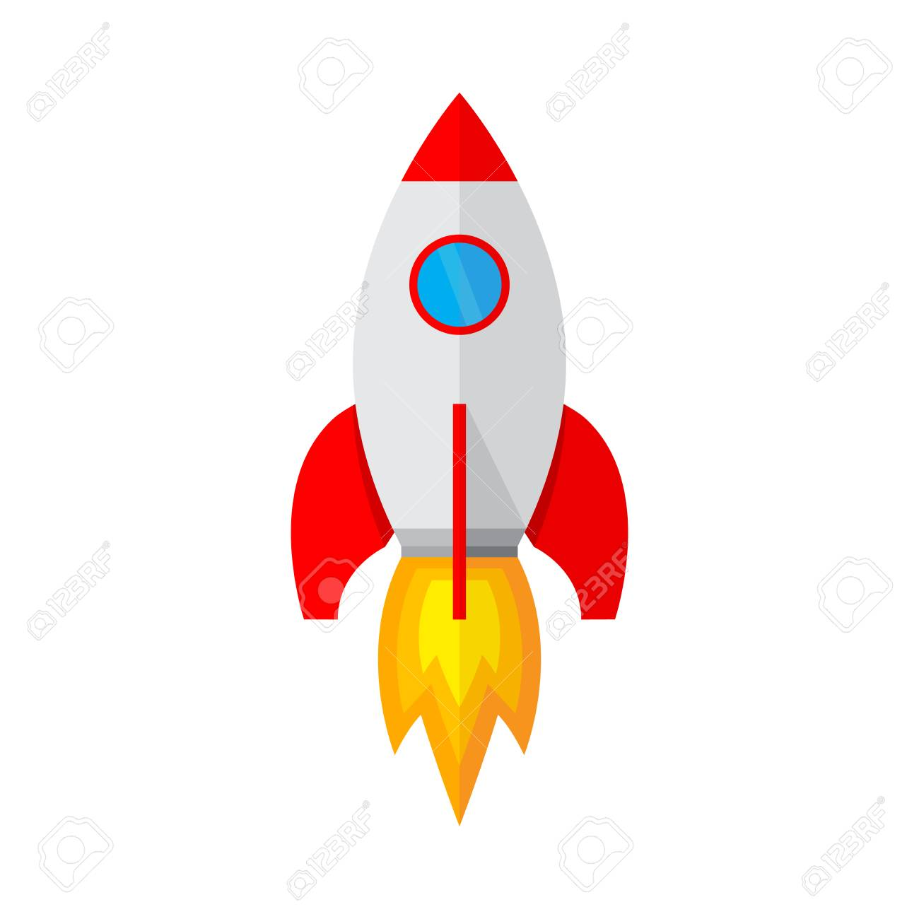 colored rocket ship icon in flat design simple spaceship icon rh 123rf com spaceship vector ai spaceship vector png