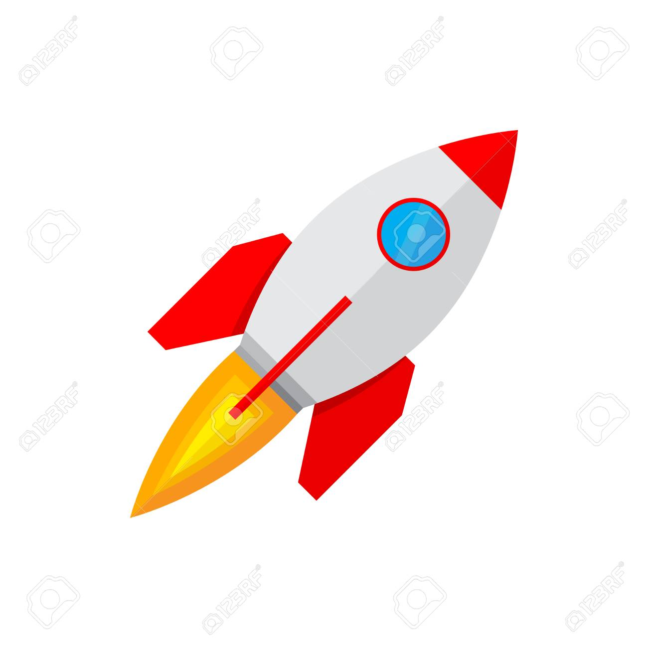 Colored Rocket Ship Icon In Flat Design Simple Spaceship Icon