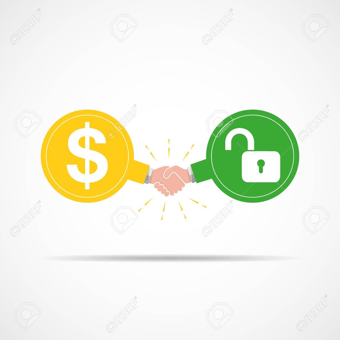 symbol of handshake between dollar signs and open lock illustration