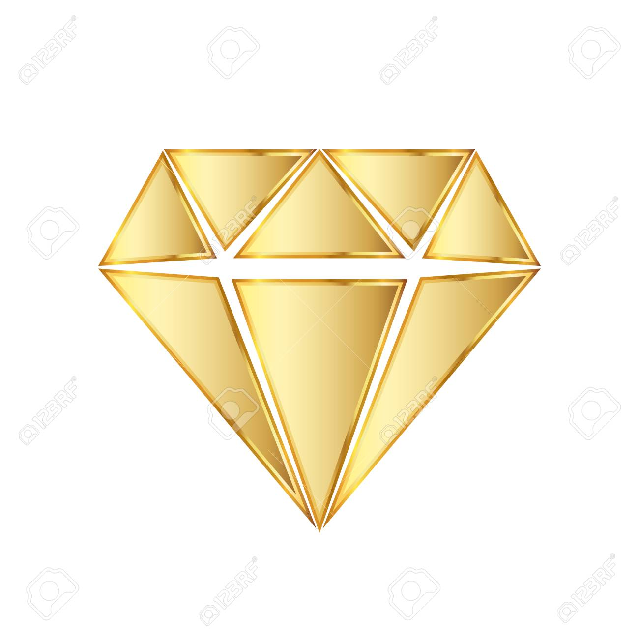 Golden diamond icon  illustration  Golden diamond symbol on white