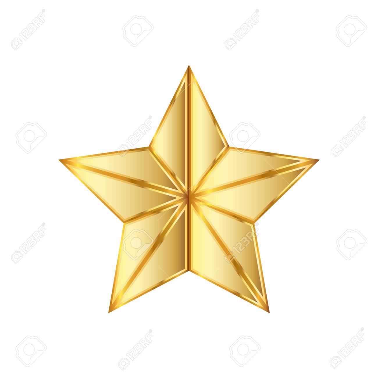 金色の星のアイコン。イラスト。白い背景の上の黄金の星のアイコン