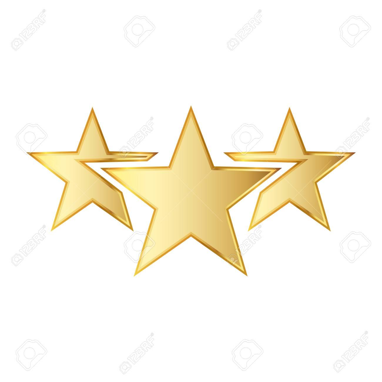 金色の星のアイコン。イラスト。白い背景の上の 3 つの金色の星