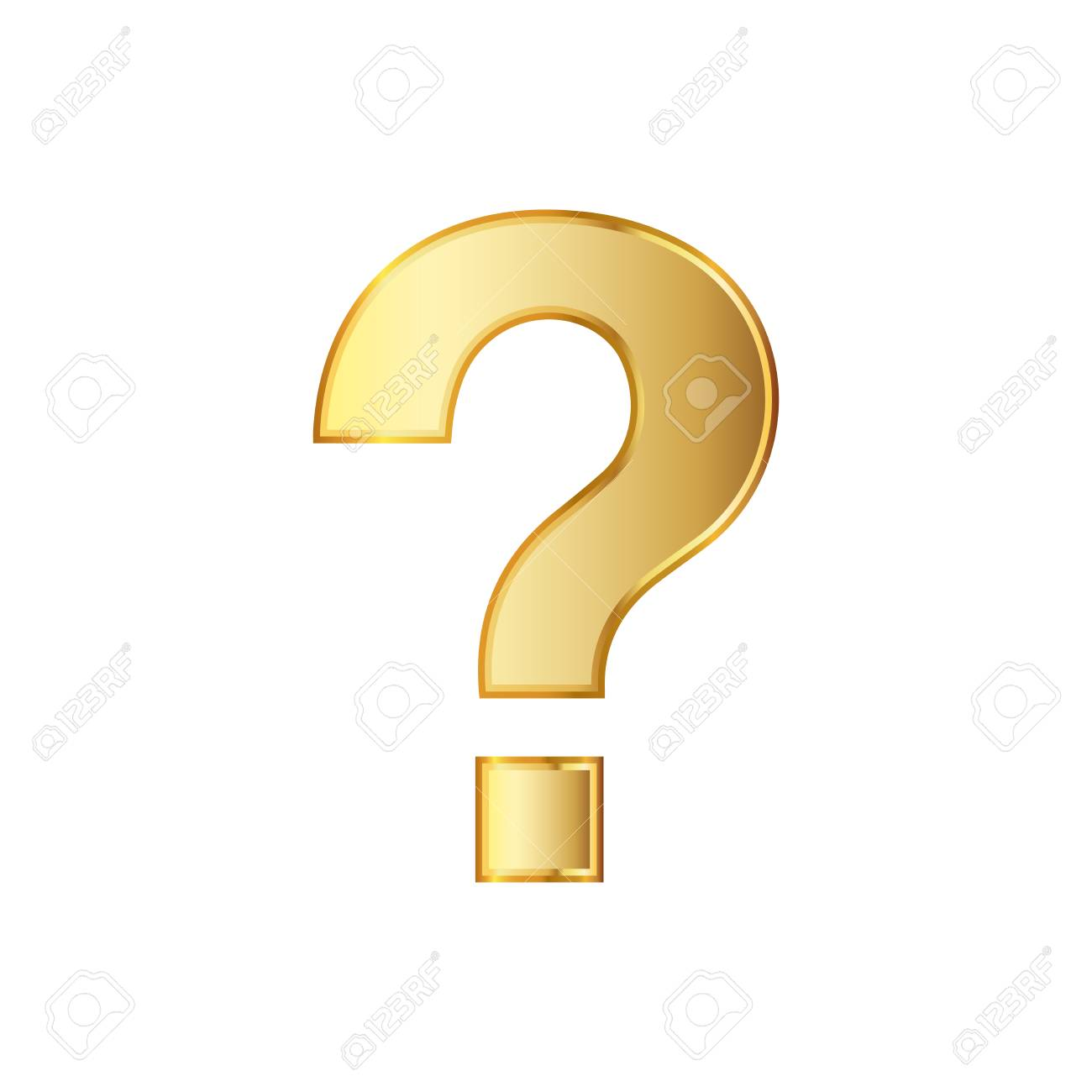 Golden question icon. illustration. Golden question symbol isolated on white background. - 72078964