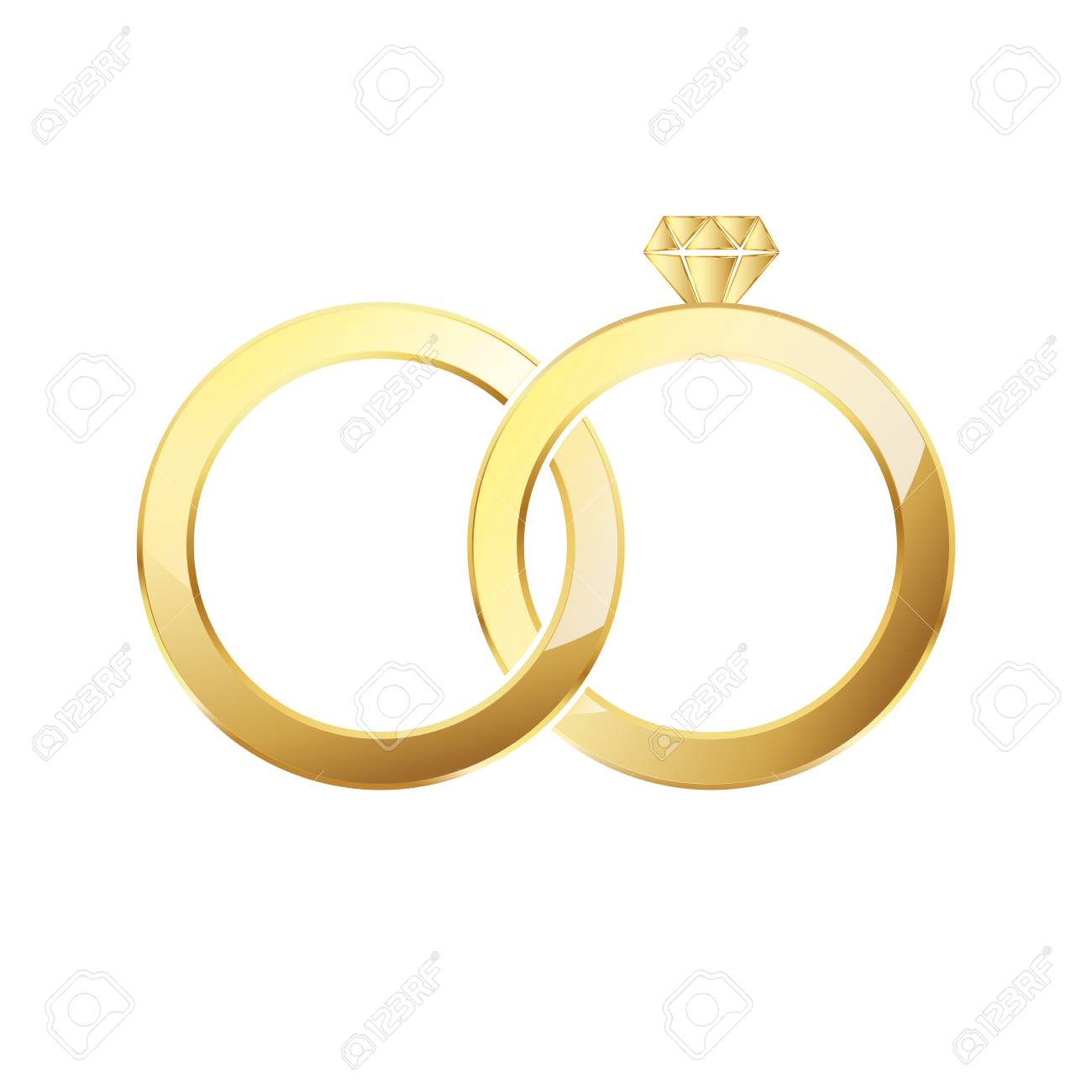 Golden Ring And Ring With Diamond Couple Of Gold Wedding Rings Royalty Free Cliparts Vectors And Stock Illustration Image 72714609