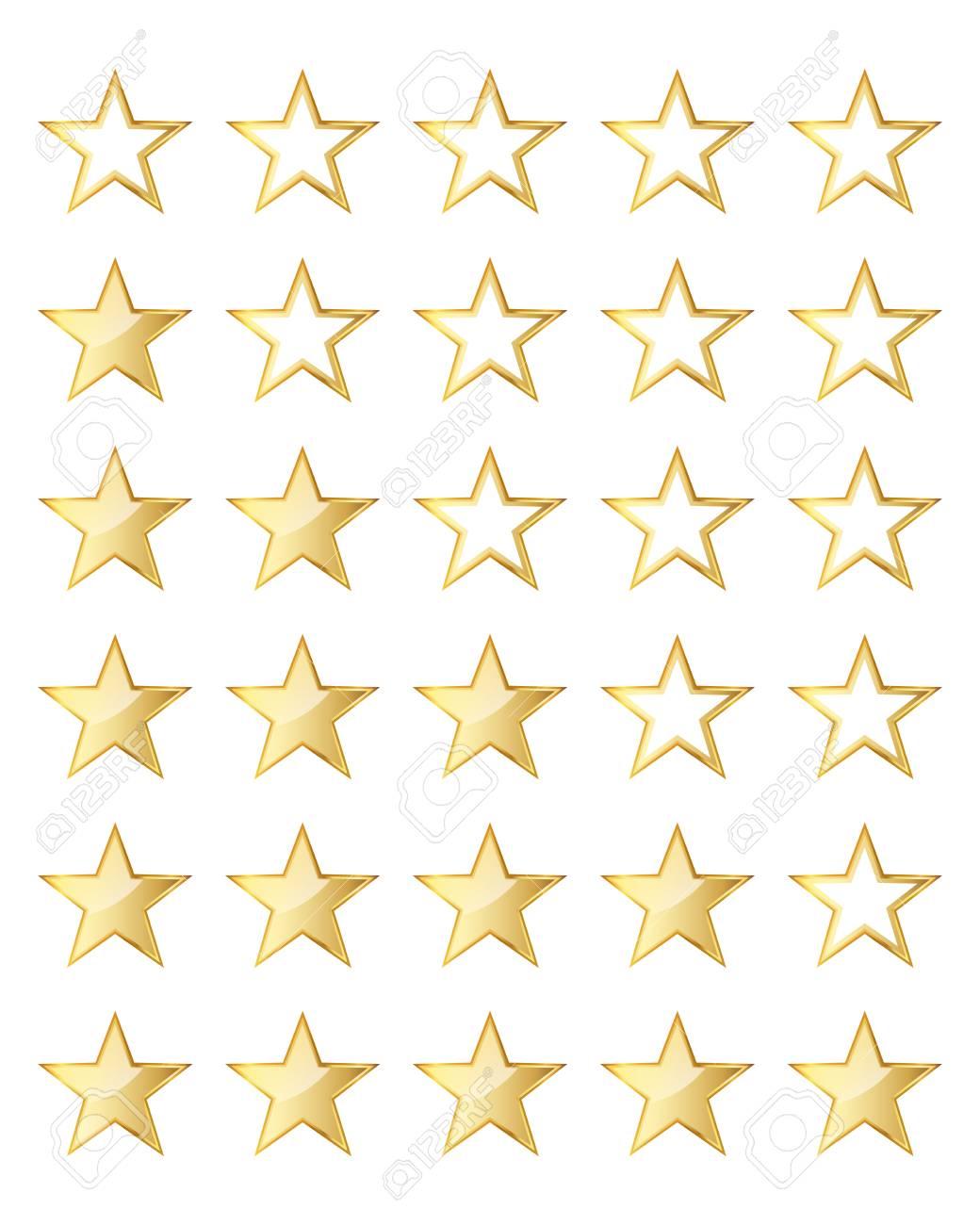 Goldene Stern Bewertung Vorlage Auf Weißen Hintergrund. Vektor ...
