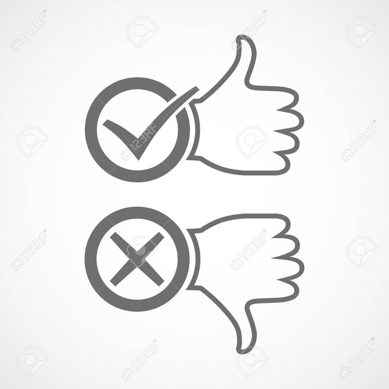 Thumb up icon with check mark  Thumb down with cross mark  Vector