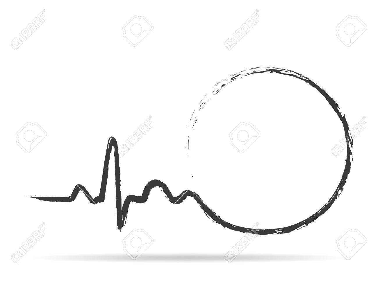 Gray Circle With Sign Heartbeat Icon Vector Illustration Abstract