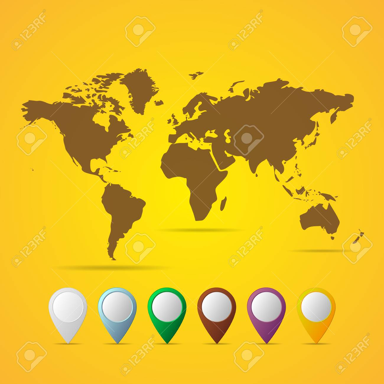 Flat World Map Vector.Black World Map Vector Illustration Flat World Map With Set