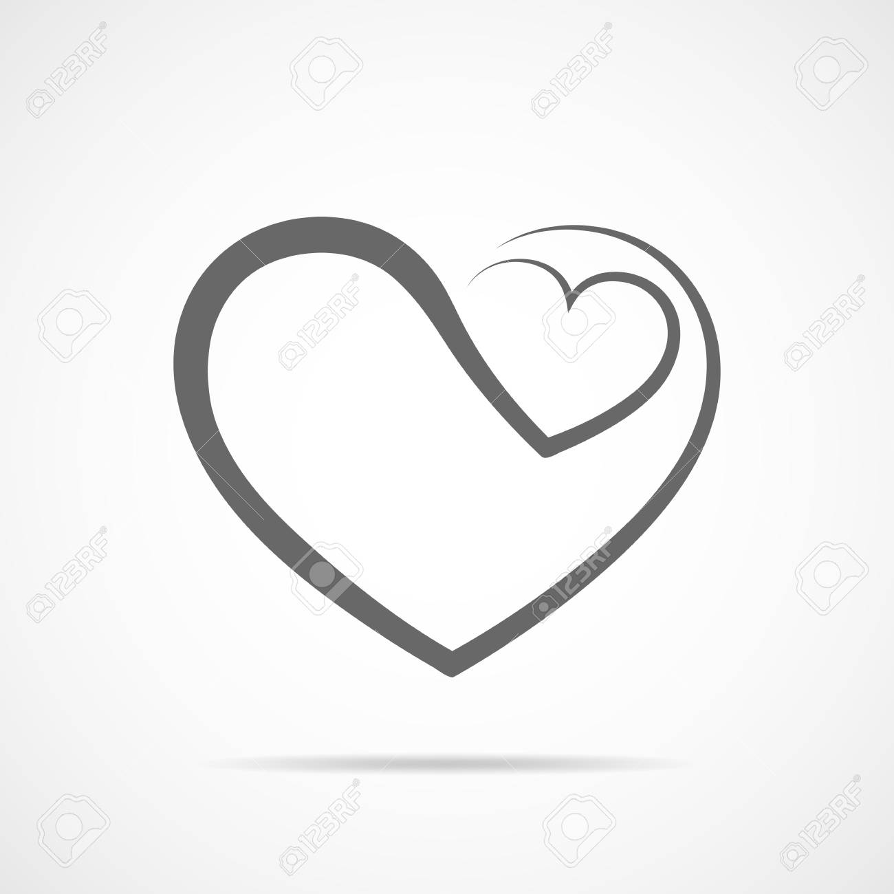 abstract heart shape outline vector illustration gray heart rh 123rf com heart outline vector png heart outline vector eps