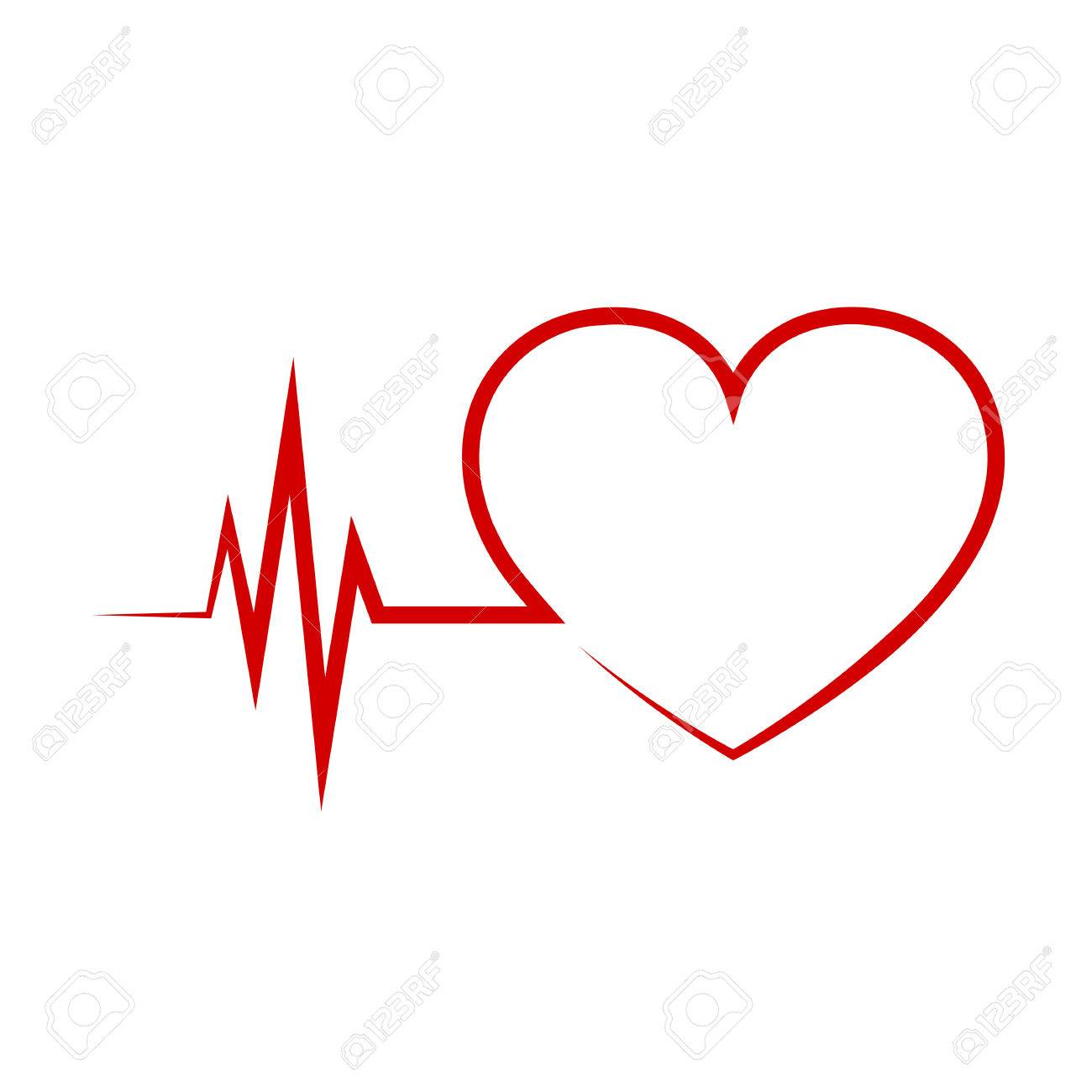 Red heart icon with sign heartbeat  Vector illustration  Heart