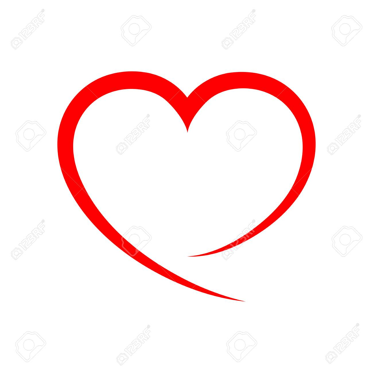 abstract heart shape outline vector illustration red heart