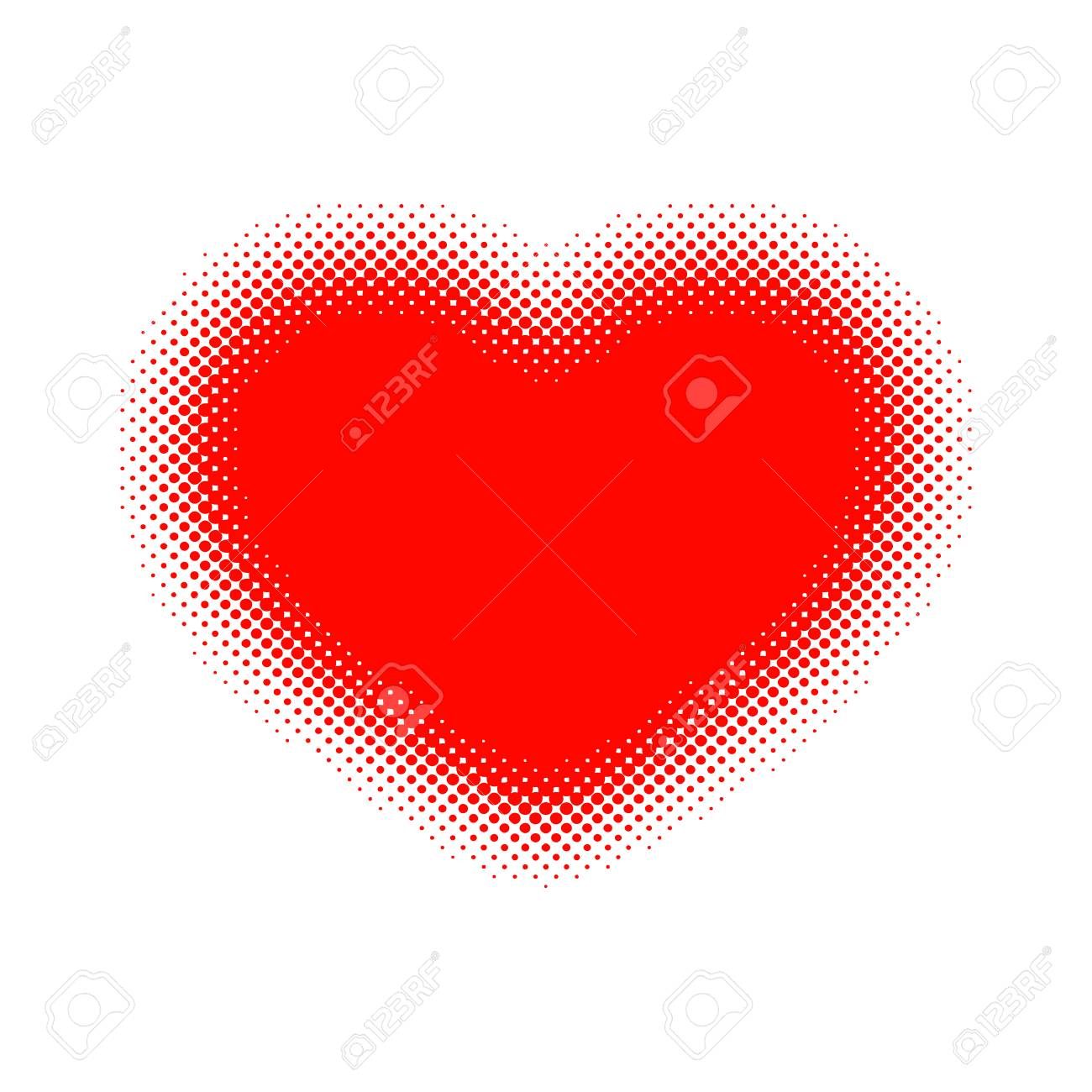 Red Heart Halftone Vector Illustration Abstract Dots Heart