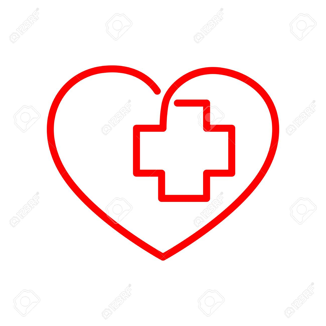 Medical Cross Inside In The Heart Symbol Red Medical Sign Isolated