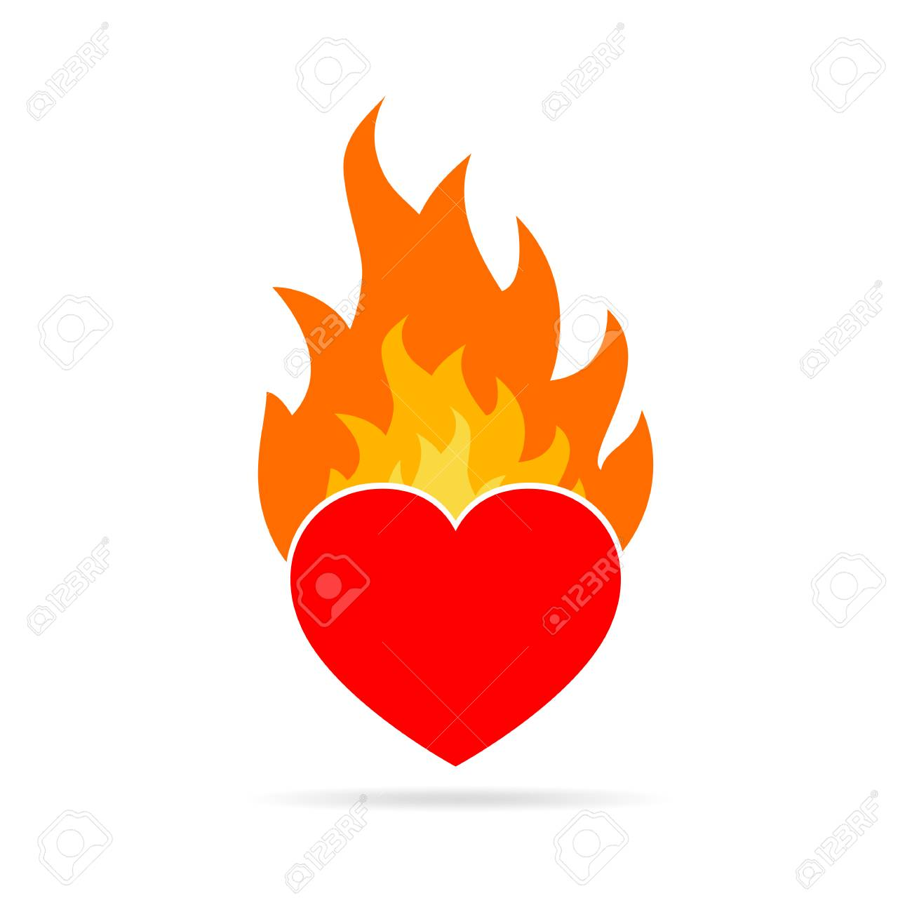 heart on fire isolated on white background heart in flame