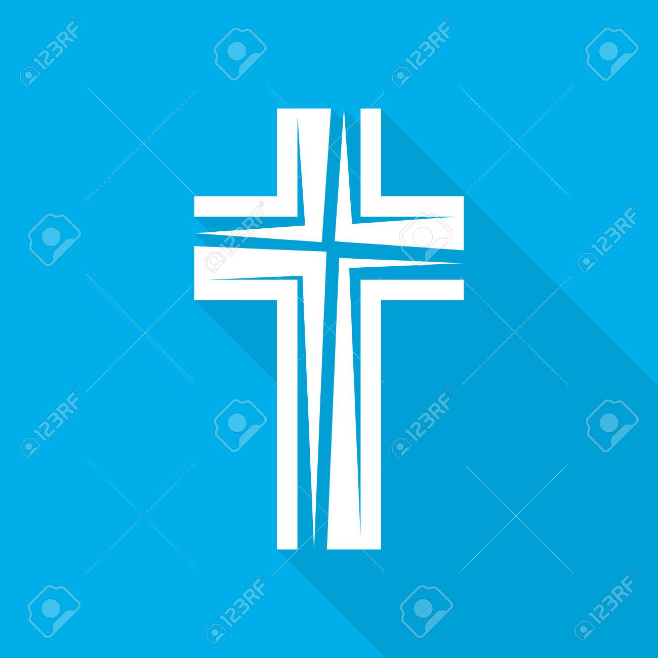 White christian cross icon on blue background abstract christian white christian cross icon on blue background abstract christian cross with long shadow vector buycottarizona