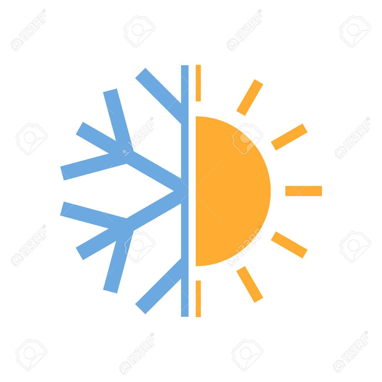 Sun and snowflake symbol of air conditioner. Vector illustration. Hot and cold icon. - 84404843