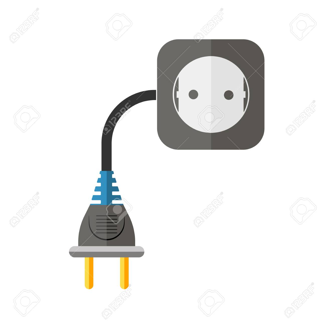 Power Extension Cord In Flat Design. Vector Illustration. Abstract ...