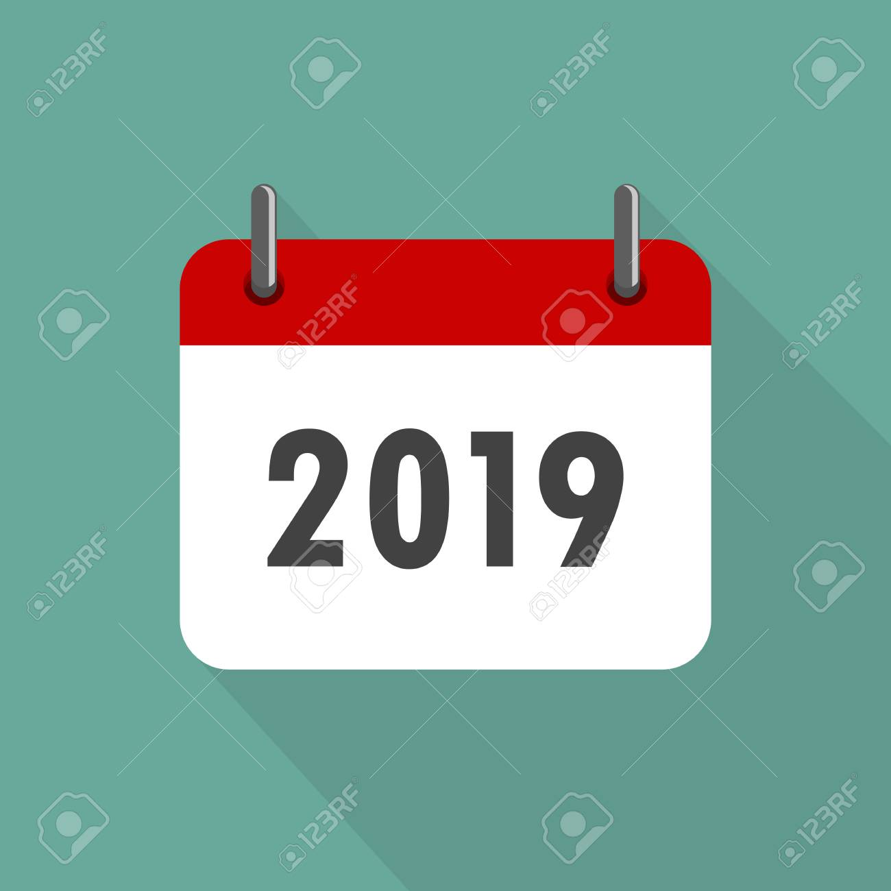 calendar icon 2019 in flat design vector illustration happy new year 2019 stock vector
