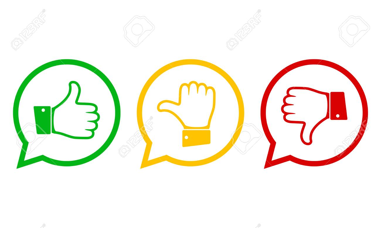 Hand Mit Dem Daumen In Grün, Gelb Und Rot. Konzept Der Abstimmung ...