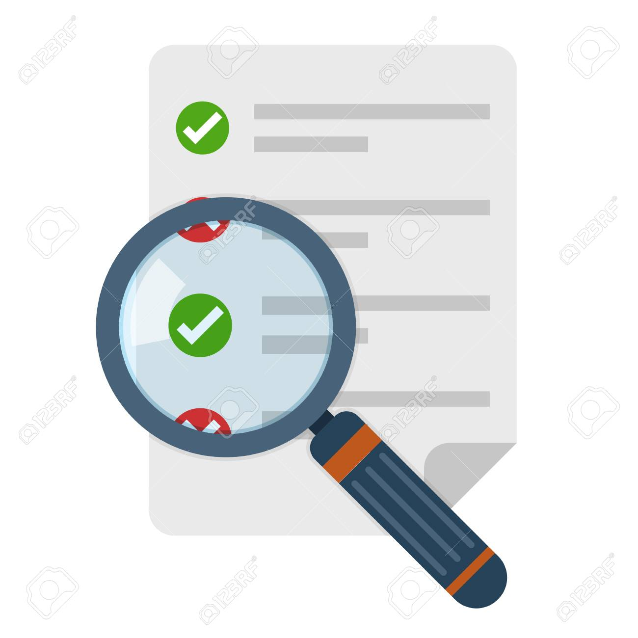 Magnifier and checklist icon in flat design. Vector illustration. Analytics concept - 91520317