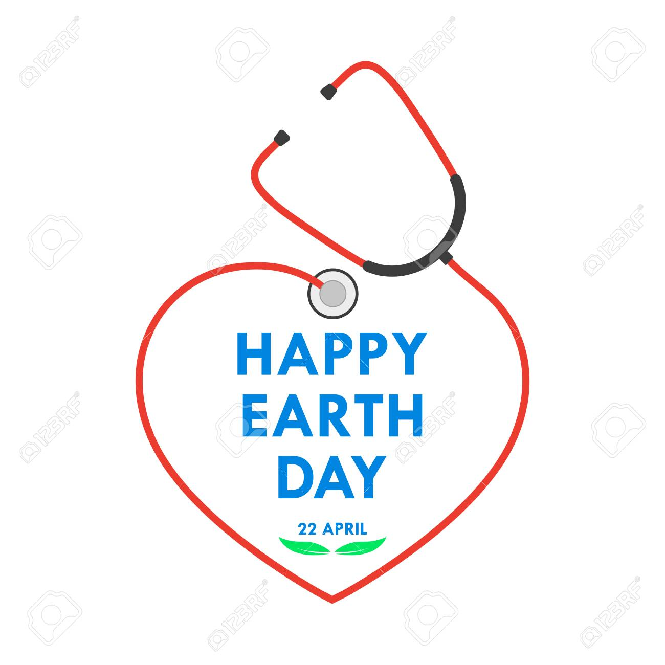 Happy Earth Day logo with stethoscope in flat design. Vector illustration. Happy Earth Day, ecology concept. - 94045239