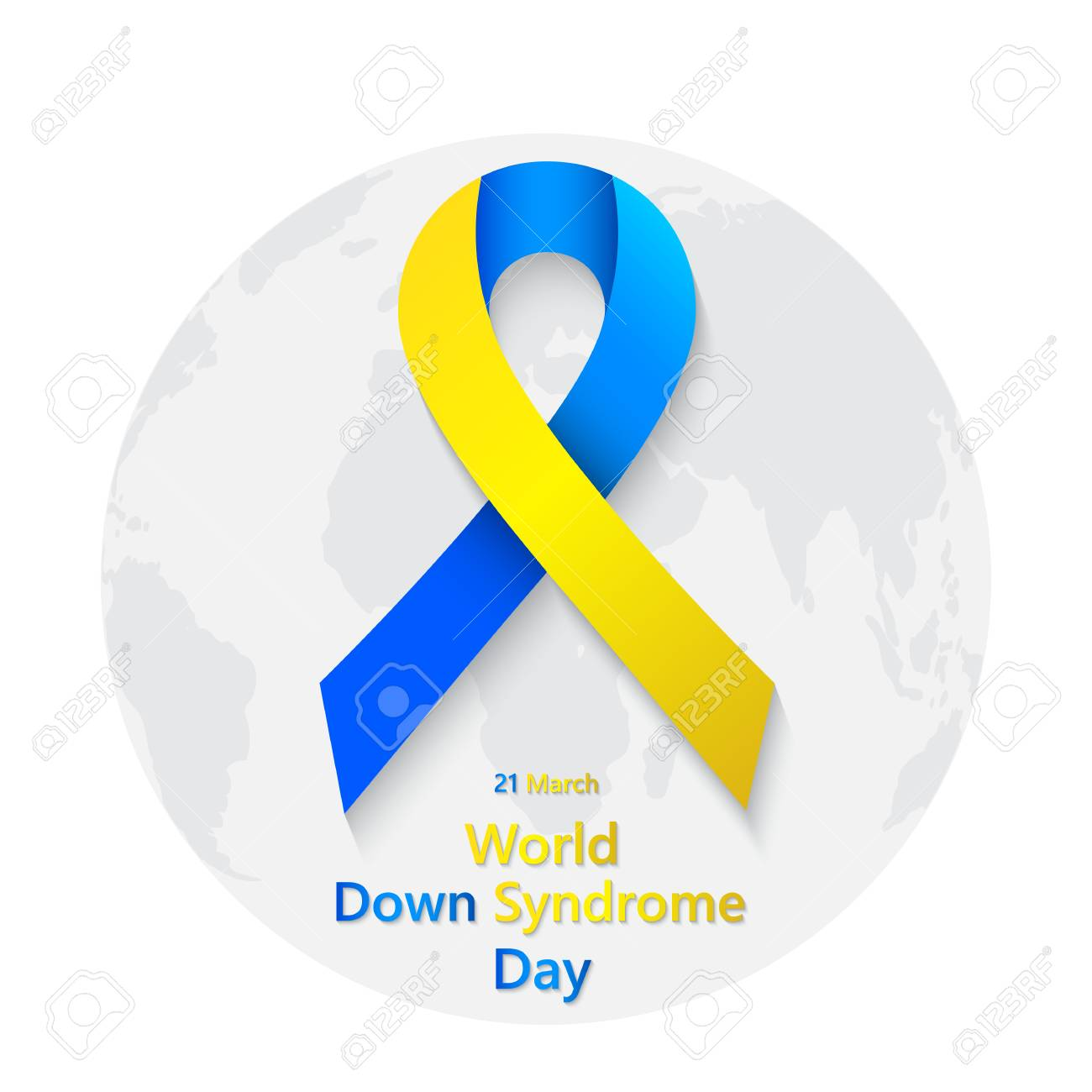 Symbol Of World Down Syndrome Day With Globe Vector Illustration