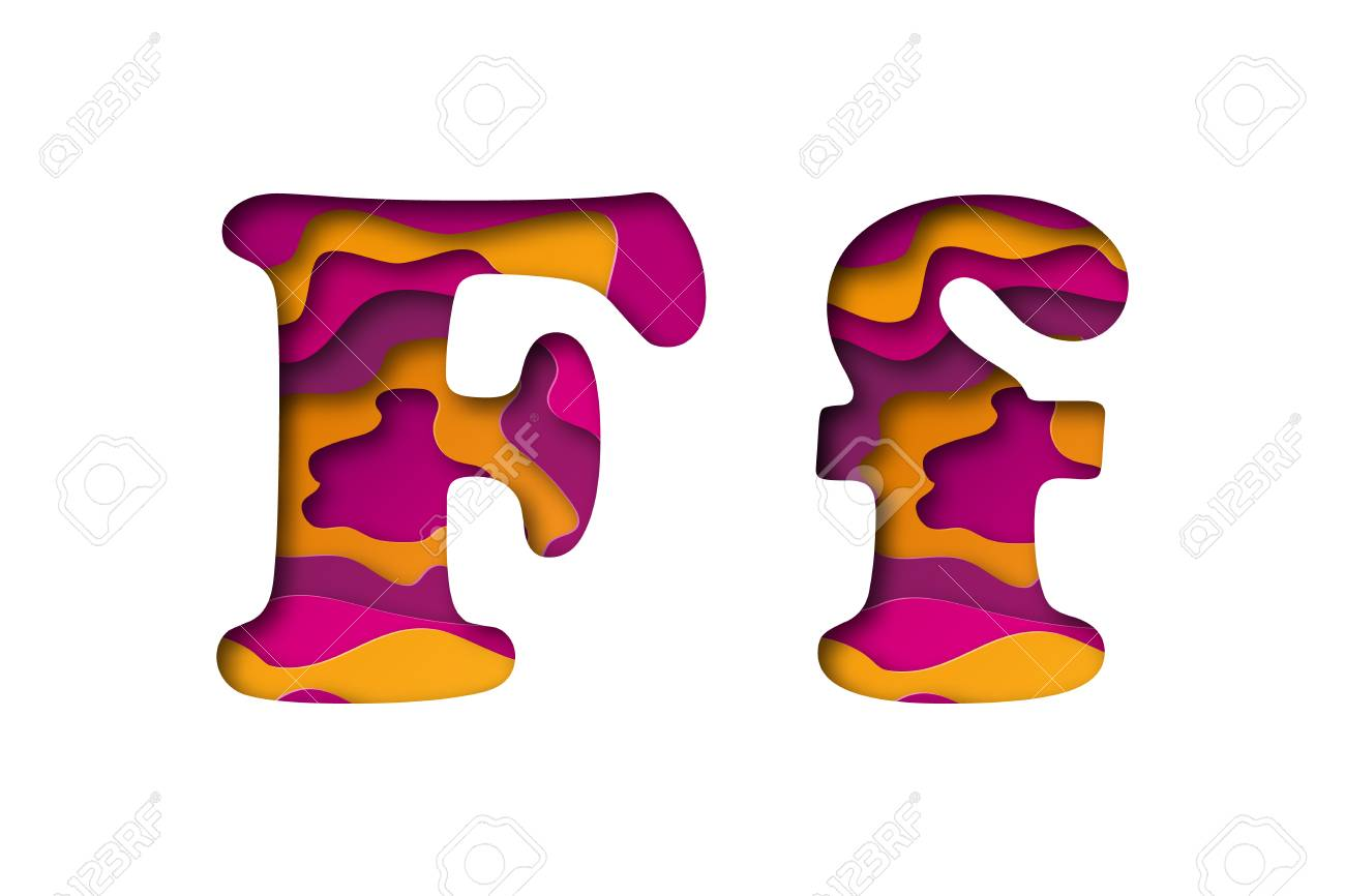 Modern paper art of the colored letter F. Vector illustration. Letter F is cut from paper isolated. - 98897819